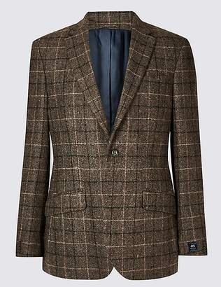 Marks and Spencer Pure Wool Brown Checked Regular Fit Jacket