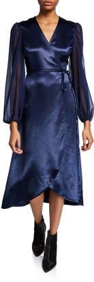 AVEC LES FILLES Wraparound Midi Dress with Long Sheer Sleeves