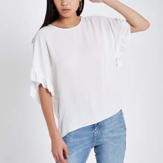 River Island Womens Cream frill sleeve T-shirt