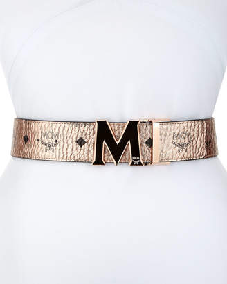 MCM Claus Metallic Visetos Reversible M-Buckle Belt