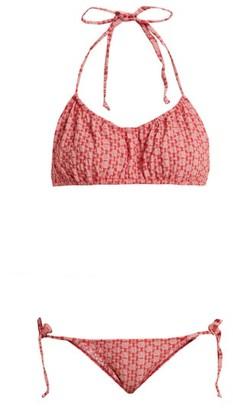 Lisa Marie Fernandez Charlotte Geometric Pattern Halterneck Bikini - Womens - Red Multi