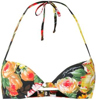 Dolce & Gabbana printed push-up bikini top