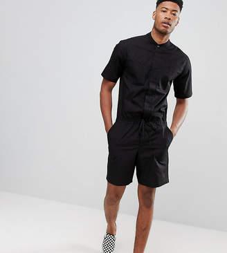 Asos DESIGN Tall Short Slim Boilersuit In Black