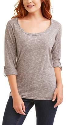 Slinky Poof Women's Long Sleeve Roll Tab Striped T-Shirt