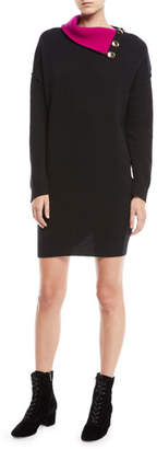 Marc Jacobs Fold-Over Button Collar Long-Sleeve Wool Tunic Sweaterdress