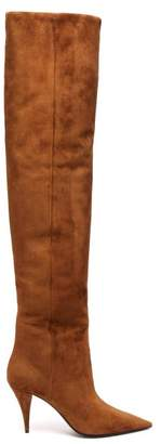 Saint Laurent Kiki Slouch Pointed Suede Knee High Boots - Womens - Tan
