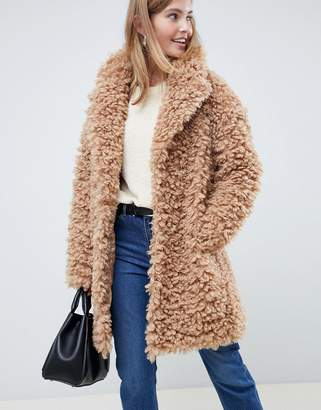 Asos Design DESIGN coat in fluffy borg