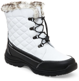 totes White & Black Toby Lined Snow Boots $69 thestylecure.com