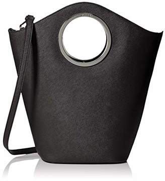 Calvin Klein Lexi Saffiano Leather North/South Ring Detail Satchel