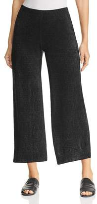 Three Dots Textured Metallic Wide-Leg Pants
