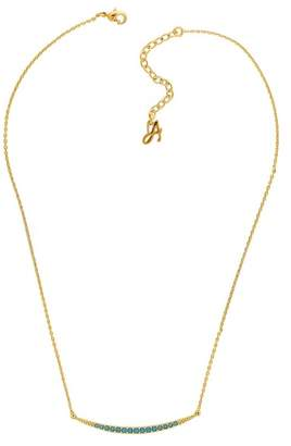 Adore Gold Plated Pave Swarovski Crystal Accented Curved Bar Pendant Necklace