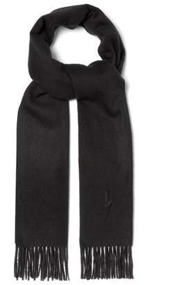 Neil Barrett Bolt Embroidered Scarf - Mens - Black