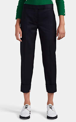 Thom Browne Women's Wool Crop Cuffed Pants - Navy