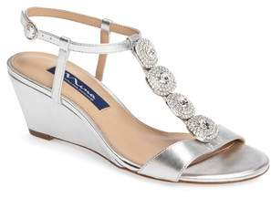 Nina Natania Swarovski Wedge Sandal
