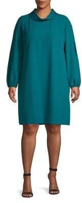 Tahari Arthur S. Levine Plus Mockneck Balloon-Sleeve Dress
