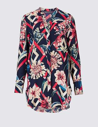 Marks and Spencer Floral Print Longline Long Sleeve Shell Top