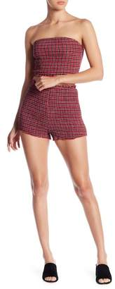 Honey Punch Smocked High Waist Checked Shorts