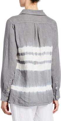 Allen Allen Tie-Dye Button-Down Linen Shirt