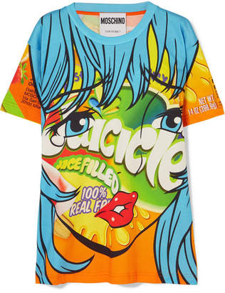Moschino Printed Stretch-cotton Jersey T-shirt - Blue