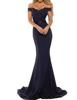 Half Flower Bridal Women's Black Off The Shoulder Evening Prom Dress Elegant Mermaid Party Dress with Slit US