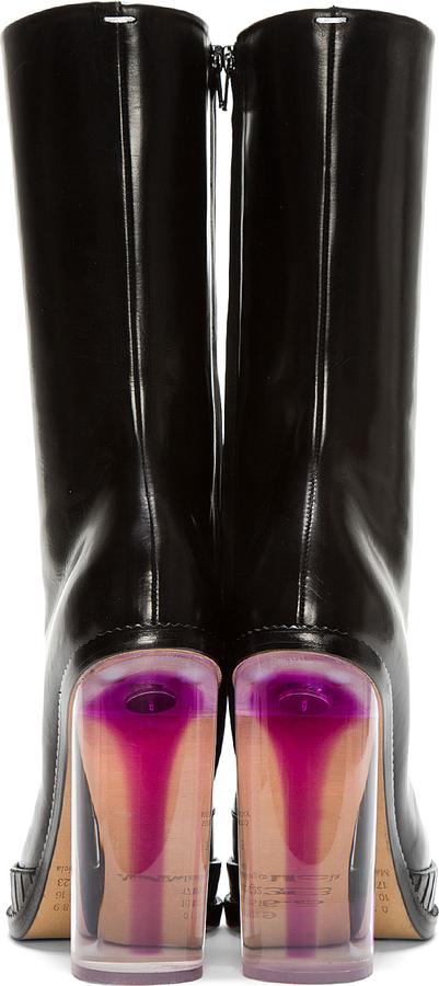 Maison Martin Margiela Black Leather Illusion Plexi-Heeled Boots