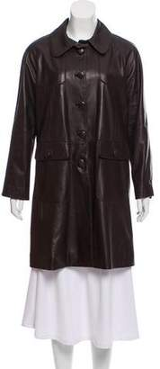 Private Label Sharis Place Leather Knee-Length Coat