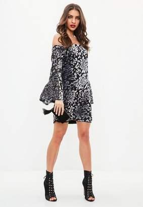 Missguided Black Bardot Flocked Velvet Shift Dress