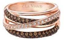 "LeVian Le Vian Chocolatier® 14K Rose Gold & Diamond Gladiator Weaveâ""¢ Ring"