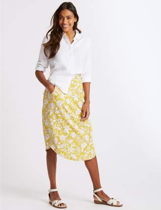 Marks and Spencer Floral Print Jersey A-Line Midi Skirt