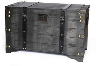 Vintiquewise Large Wooden Storage Trunk Coffee Table Vintage Black