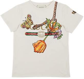 Gucci Kids' Flower & Logo Cotton T-Shirt