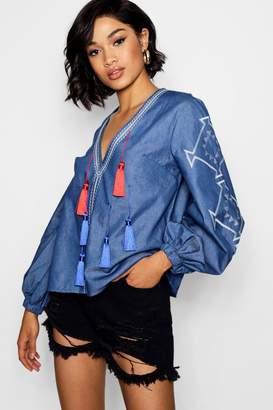 boohoo Annie Pom Pom Trim Embroidered Chambray Top