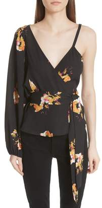 A.L.C. Mikalene Floral Print Silk One-Shoulder Top
