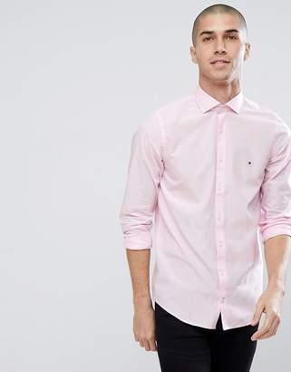 Tommy Hilfiger Slim Fit Flag Logo Shirt In Pink