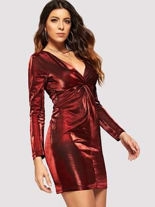Shein Metallic Twist Front V-Neck Dress
