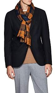 Drakes Drake's Men's Checked Cashmere Scarf - Orange