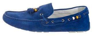Gucci Suede Bead Tassel Loafers