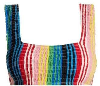 Diane von Furstenberg Smocked Bikini Top - Womens - Multi Stripe