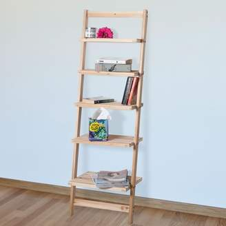 Book Shelf for Living Room, Bathroom, and Kitchen Shelving, Home Decor by Lavish Home- 5-Tier Decorative Leaning Ladder Shelf- Wood Display Shelving