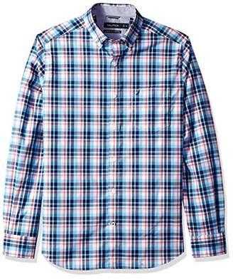 Nautica Men's Stretch Long Sleeve Plaid Button Down Shirt