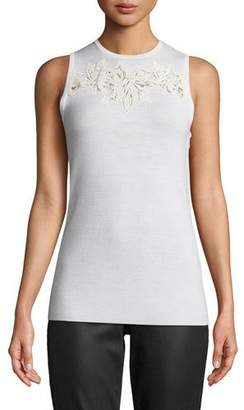 Elie Tahari Bell Embroidered-Yoke Sleeveless Sweater