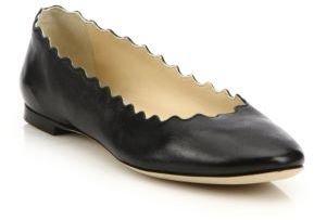 Chloe Scalloped Leather Ballet Flats $495 thestylecure.com