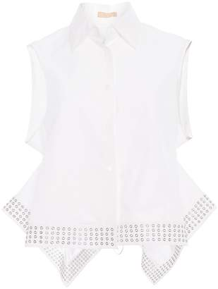 Alaia Sleeveless Button Down with Studs