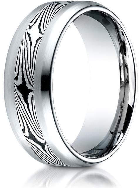 Benchmark Cobalt 8.0 Comfort-Fit Satin-Mokume Design Ring