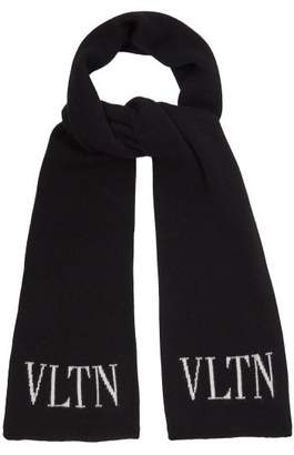 Valentino - Logo Intarsia Wool And Cashmere Blend Scarf - Mens - Black