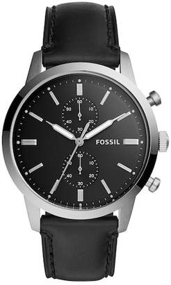 Fossil Men's Townsman Leather Three-Hand Watch, 44mm