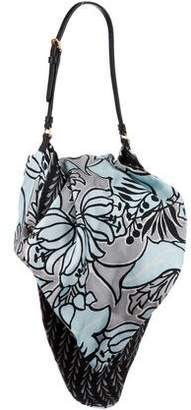 Prada Leather-Trimmed Printed Silk Shoulder Bag