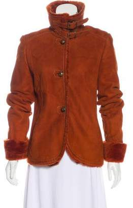 Max Mara Suede Shearling-Trimmed Jacket