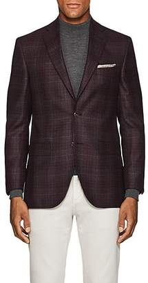 Piattelli MEN'S CHECKED WOOL-SILK TWO-BUTTON SPORTCOAT - RED SIZE 40 R