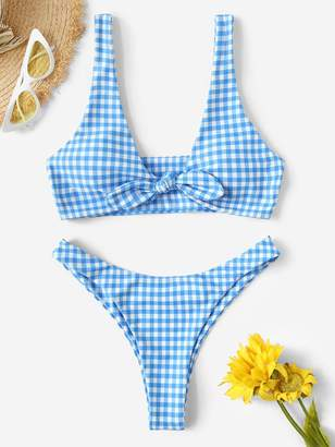 Shein Gingham Knot Front Top With High Cut Bikini Set